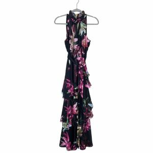 Tahari Tier Tropical Floral Flounce High Neck Gown